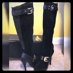 """Shoedazzle """"Lourdes"""" Faux Suede Knee High Boots"""